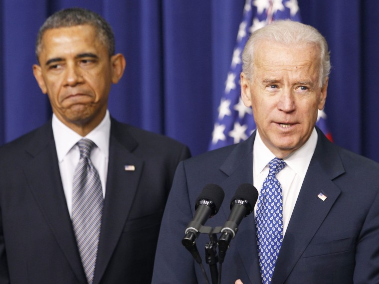 Vice President Joe Biden (R) speaks at a news conference before U.S. President Barack Obama unveils a series of proposals to counter gun violence during an event at the  White House in Washington January 16, 2013. Biden delivered his recommendations to...