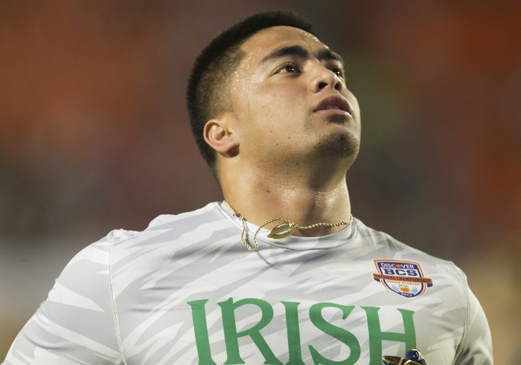 Jan. 7, 2013 - Miami Gardens, Florida, United States of America - January 7, 2013: Notre Dame inside linebacker Manti Te'o (5) prior to the Discover BCS National Championship between the Alabama Crimson Tide and the Notre Dame Fighting Irish at Sun...