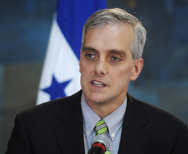 U.S. Deputy National Security Adviser Denis McDonough addresses the media in Tegucigalpa in this November 28, 2012  U.S. President Barack Obama is likely to name McDonough his next chief of staff, replacing Jack Lew after his nomination to be treasury...