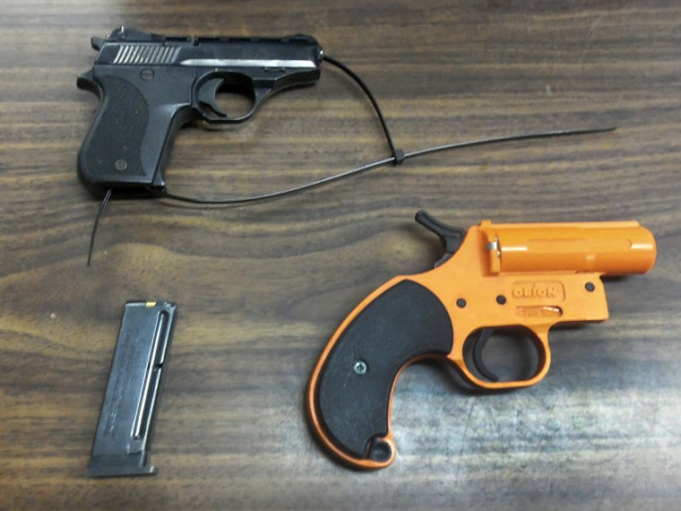 Police say a 7-year-old New York City boy brought, with ammunition, to his Queens elementary school in his backpack. (AP Photo/New York City Police Department)