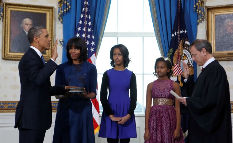 President Barack Obama takes the oath of office at the official swearing-in ceremony in the Blue Room of the White House.(Doug Mills/Pool/Sipa USA/dapd)