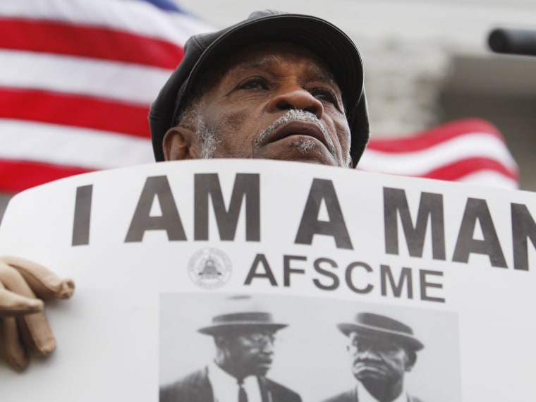 File Photo: Elmore Nickleberry of Memphis attends a Martin Luther King rally at the state Capitol in Madison, Wis., Monday, April 4, 2011. Nickleberry, a Memphis sanitation department worker went on strike in 1968 seeking better working condition and...