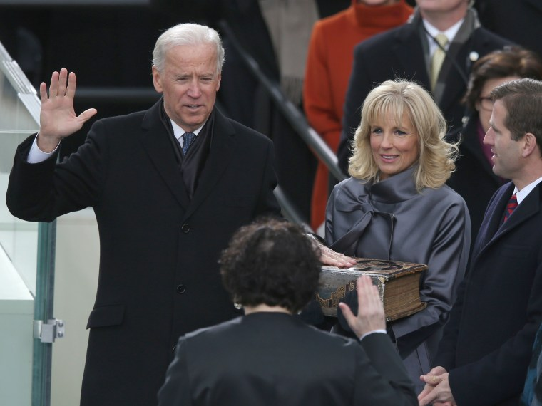 U.S. Vice President Joe Biden is sworn in by Supreme Court Justice Sonia Sotomayor as wife Dr. Jill Biden and Supreme Court Justice Sonia Sotomayor Beau Biden look on during the presidential inauguration on the West Front of the U.S. Capitol January 21...