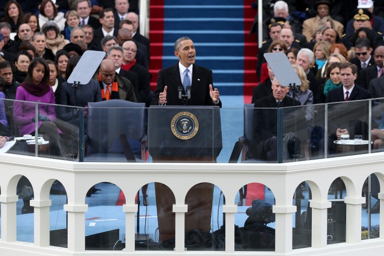 U.S. President Barack Obama gives his inauguration address during the public ceremonial inauguration on the West Front of the U.S. Capitol January 21, 2013 in Washington, DC. Barack Obama was re-elected for a second term as President of the United...