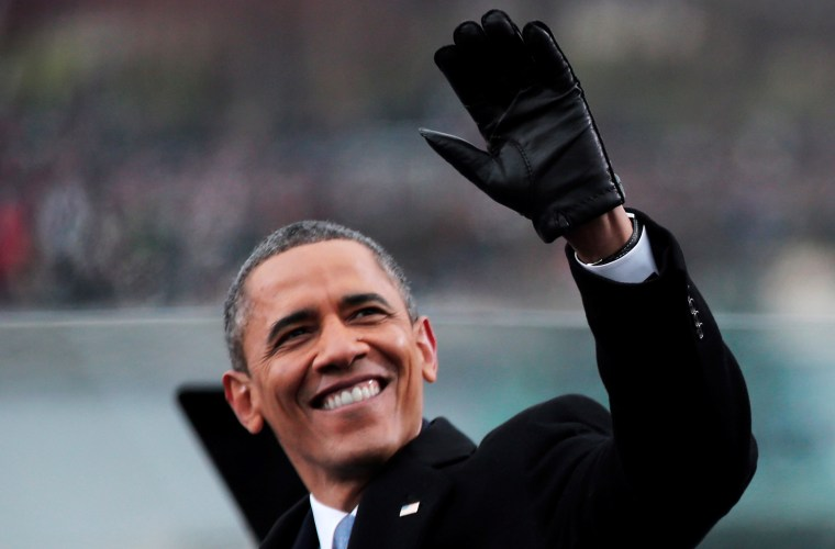 U.S. President Barack Obama waves during the presidential inauguration on the West Front of the U.S. Capitol January 21, 2013 in Washington, DC.   Barack Obama was re-elected for a second term as President of the United States....