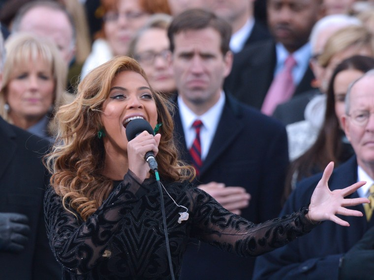 Beyonce performs the national anthem during the 57th Presidential Inauguration ceremonial swearing-in at the U.S. Capitol on January 21, 2013 in Washington, D.C. (Photo by Jewel Samad/AFP/Getty Images)