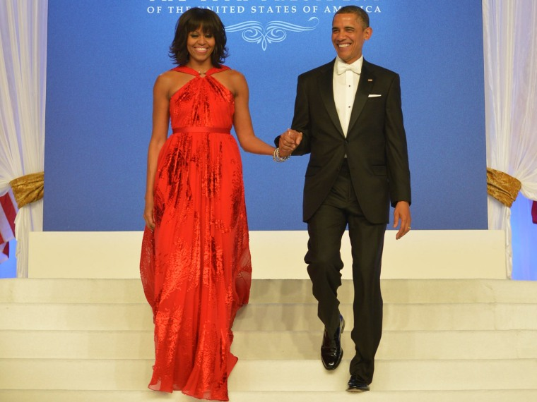 US President Barack Obama and First Lady Michelle Obama attend the Inaugural Ball at the Walter E. Washington Convention Center on January 21, 2013 in Washington, DC.  (Photo by MANDEL NGAN/AFP/Getty Images)