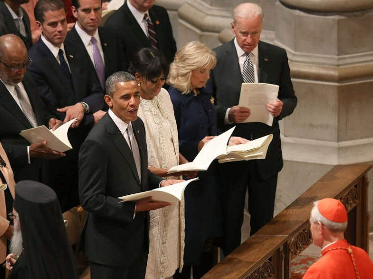 President Barack Obama, first lady Michelle Obama, Dr. Jill Biden and Vice President Jose Biden participate in the National Prayer Service at the National Cathedral, on January 22, 2013 in Washington, DC. (Photo by Mark Wilson/Getty Images)