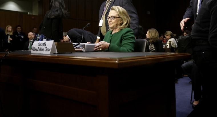 Secretary of State Hillary Rodham Clinton testifying on the Benghazi attacks today. (AP Photo/Pablo Martinez Monsivais)