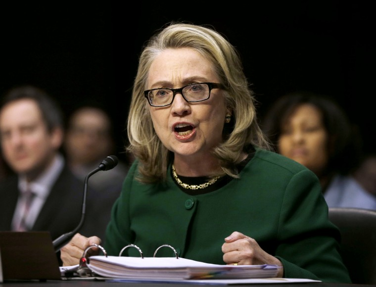 Secretary of State Hillary Rodham testifies on Capitol Hill in Washington, Wednesday, Jan. 23, 2013, before the Senate Foreign Relations Committee hearing on the deadly September attack on the U.S. diplomatic mission in Benghazi, Libya, that killed...