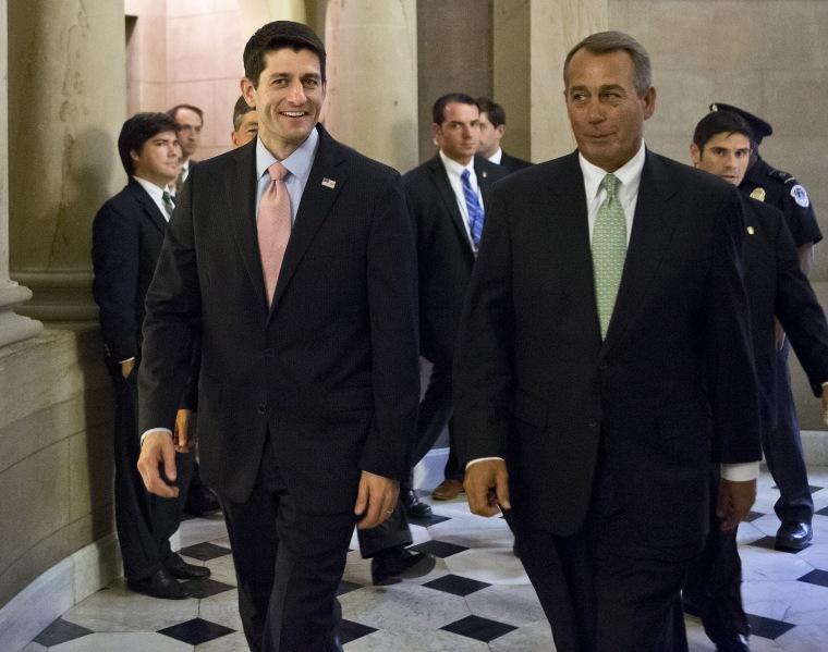 House Speaker John Boehner, R-Ohio, right, and Rep. Paul Ryan, R-Wis., (Photo by J. Scott Applewhite/AP)