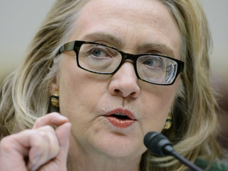 US Secretary of State Hillary Clinton appears before the House Foreign Affairs Committee hearing on the 11 September 2012 attack on US diplomatic facilities in Benghazi, Libya, on Capitol Hill in Washington DC, USA, 23 January 2013.  (Photo by Michael...