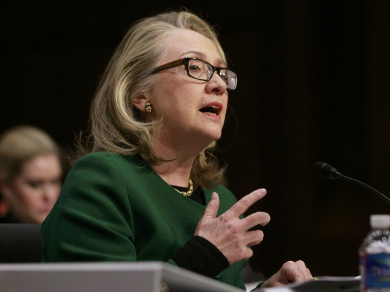 U.S.Secretary of State Hillary Clinton testifies on the September attack on U.S. diplomatic sites in Benghazi, Libya during a hearing held by  the U.S. Senate Foreign Relations Committee on Capitol Hill in Washington January 23, 2013.  (Photo by Jason...