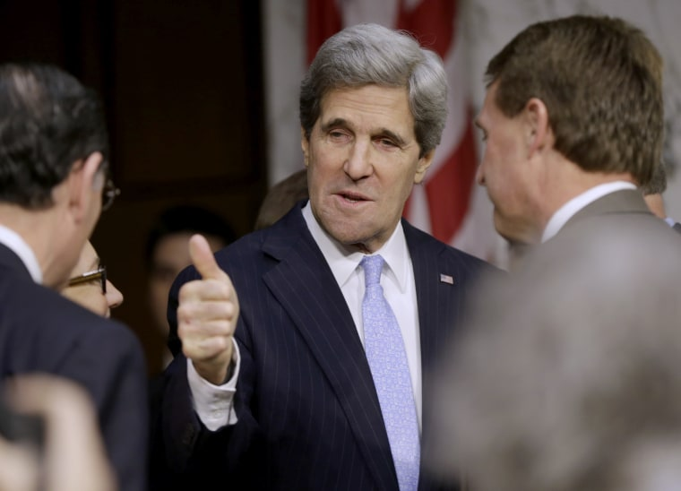 Senate Foreign Relations Chairman Sen. John Kerry, D-Mass., President Barack Obama's nominee to become secretary of state, gives a 'thumbs-up' as he arrives  on Capitol Hill in Washington, Thursday, Jan. 24, 2013, to testify before his confirmation...
