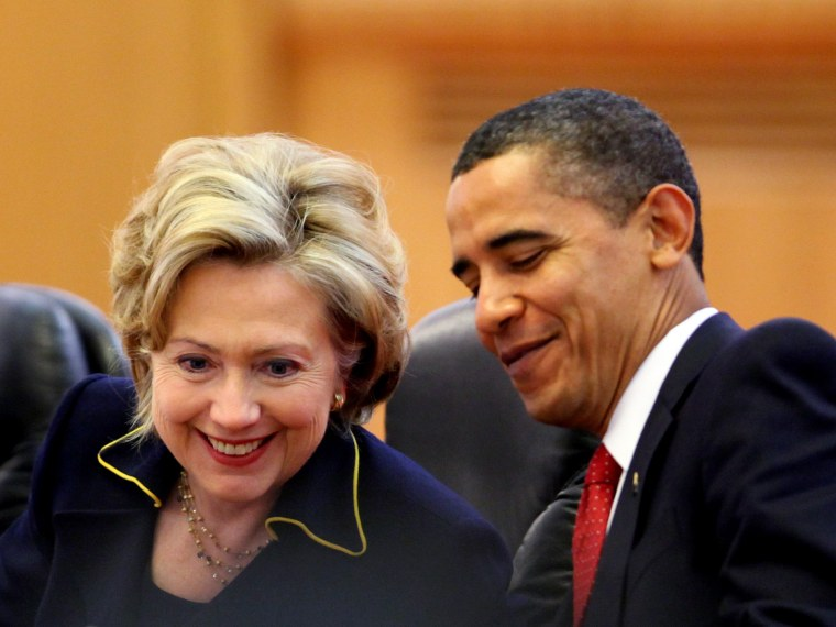 File Photo:  U.S. President Barack Obama (R) chats with U.S. Secretary of State Hillary Rodham Clinton (L) during a bilateral meeting with Chinese President Hu Jintao at the Great Hall of the People on November 17, 2009 in Beijing, China.  (Photo by...