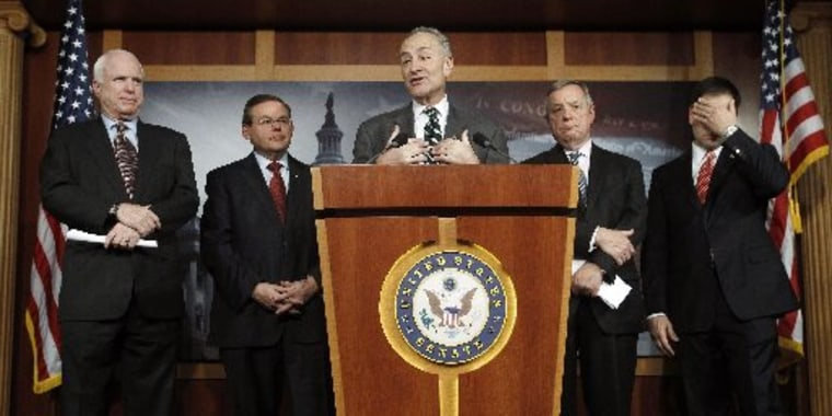 (L-R) Senators John McCain (R-AZ), Robert Menendez (D-NJ), Charles Schumer (D-NY), Richard Durbin (D-IL) and Marco Rubio (R-FL) attend a news conference on comprehensive immigration reform at the U.S. Capitol in Washington January 28, 2013. REUTERS...
