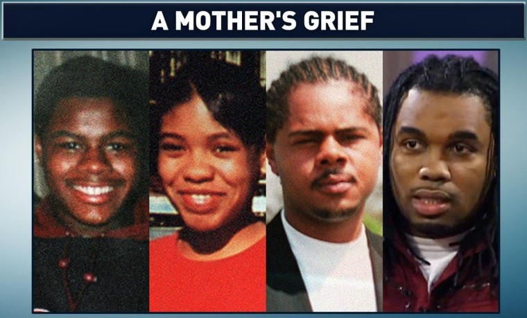 The four children of Shirley Chambers, all lost to gun violence. Siblings from left: Carlos, LaToya, Jerome and Ronnie Chambers. (Photos via Chicago Tribune)