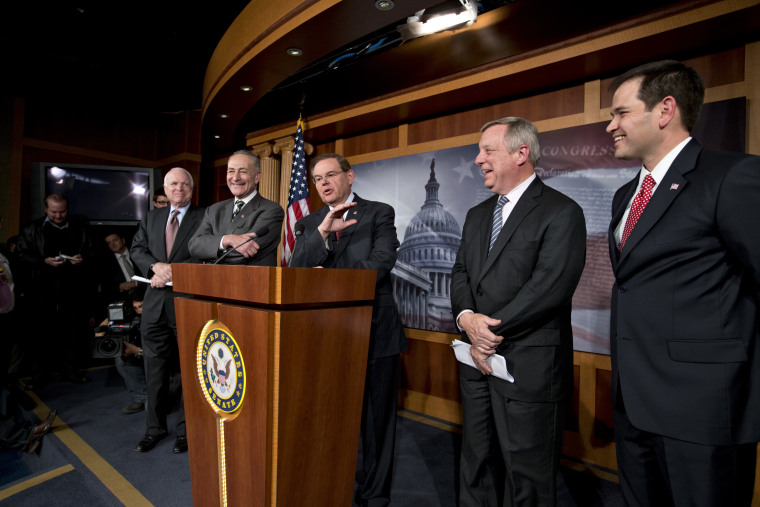 A bipartisan group of leading senators announce that they have reached agreement on the principles of sweeping legislation to rewrite the nation's immigration laws, during a news conference at the Capitol in Washington, Monday, Jan. 28, 2013. (AP Photo...