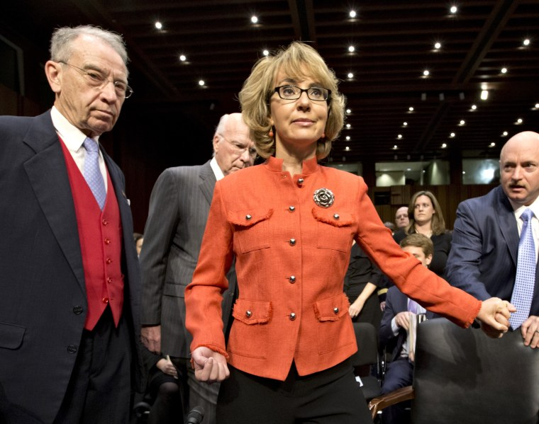 Former Arizona Rep. Gabrielle Giffords testified on Capitol Hill today on gun control.(AP Photo/J. Scott Applewhite)