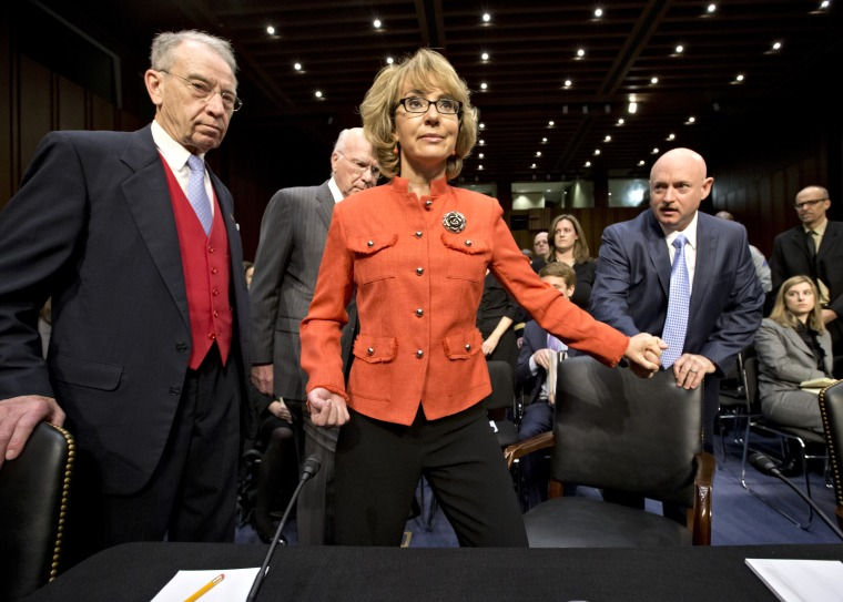 Former Arizona Rep. Gabrielle Giffords testified on Capitol Hill today. (Photo by J. Scott Applewhite/AP)