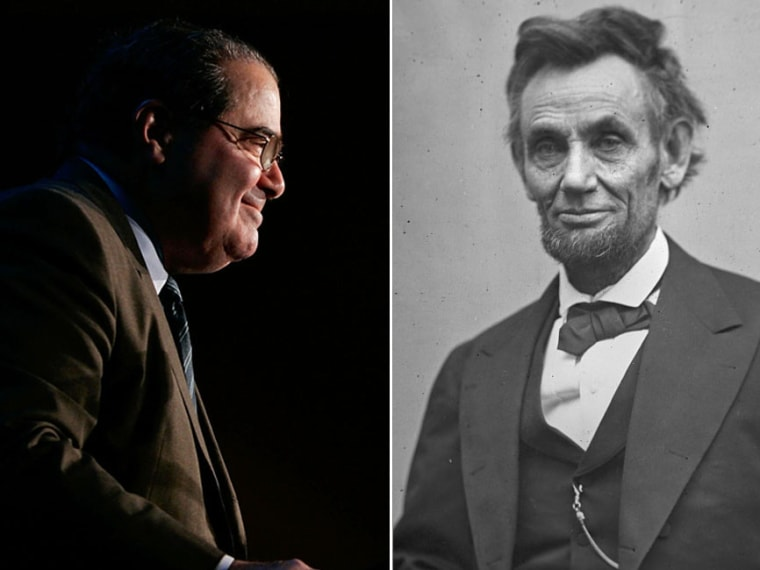 U.S. Supreme Court Justice Antonin Scalia at a Northern Virginia Technology Council event in McLean, Virginia on December 13, 2006. (File photo by Alex Wong/Getty Images); President Abraham Lincoln pictured on Feb. 5, 1865. (File photo by Alexander...
