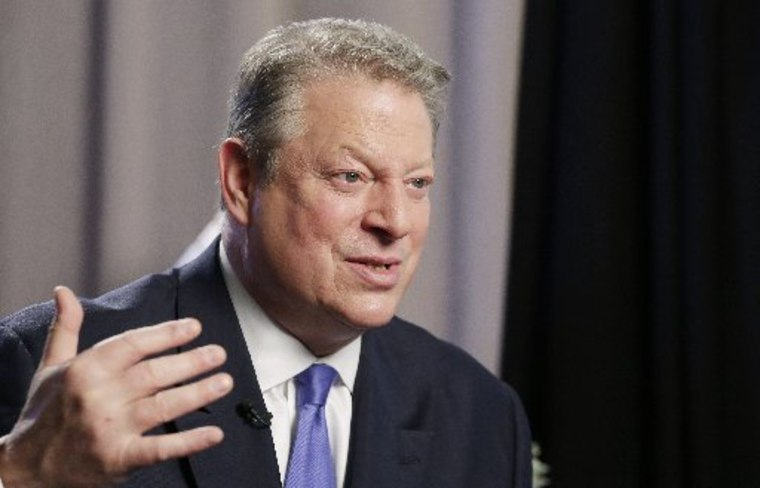 "Former U.S. Vice President Al Gore talks during an interview, Tuesday, Jan. 29, 2013 in New York. Gore, who takes aim in his new book at the corporate media for ""suffocating the free flow of ideas,"" on Tuesday defended the sale of his own television..."