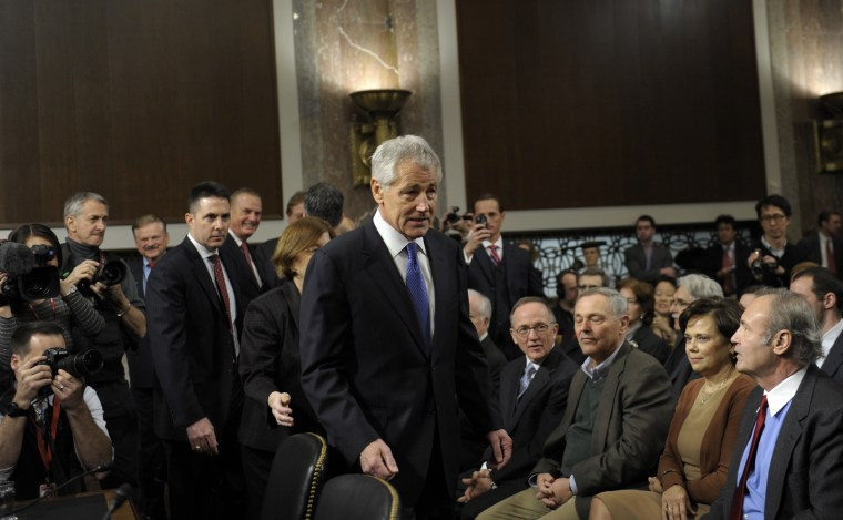 Former Republican Nebraska Sen. Chuck Hagel, President Barack Obama's choice for defense secretary, arrives on Capitol Hill in Washington, Thursday, Jan. 31, 2013, to testify before the Senate Armed Services Committee hearing on his nomination.  (AP...