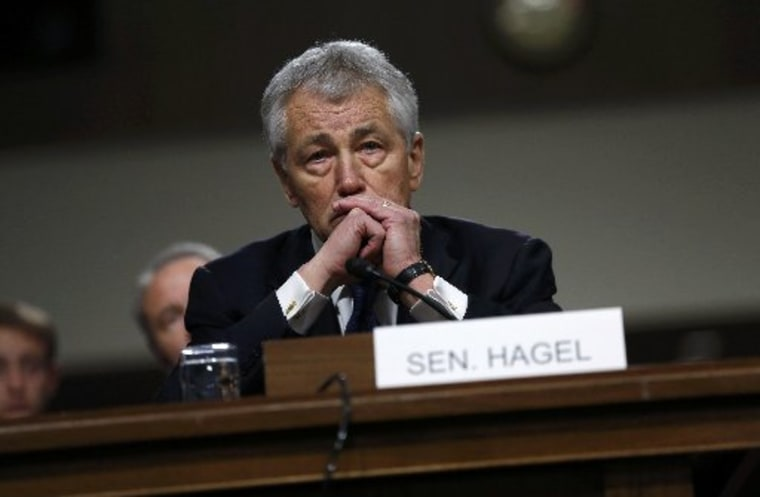 Former Senator Chuck Hagel testifies during a Senate Armed Services Committee hearing on his nomination to be Defense Secretary, on January 31, 2013. (Photo by Kevin Lamarque/Reuters)
