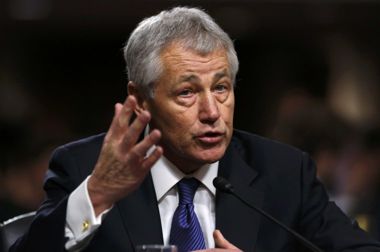 Former U.S. Senator Chuck Hagel, R-Neb., testifies during a Senate Armed Services Committee hearing on his nomination to be Defense Secretary, on Capitol Hill in Washington, January 31, 2013. (Photo by Kevin Lamarque/REUTERS)