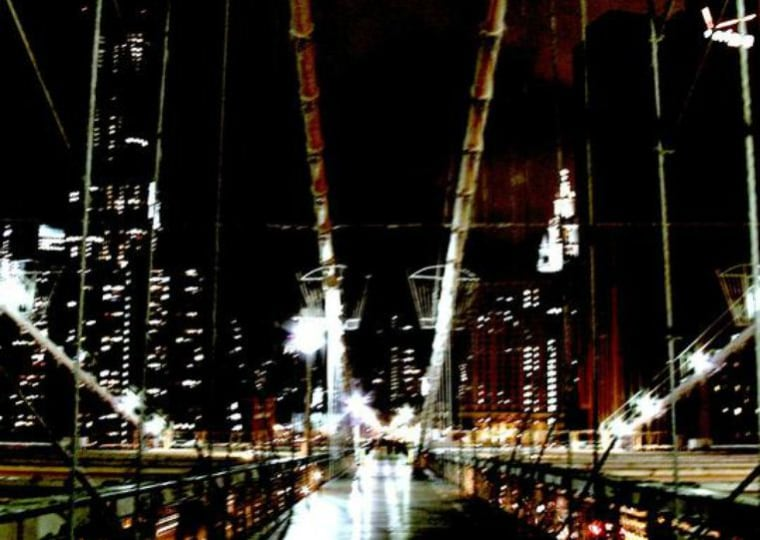 """Night on Brooklyn Bridge."" Traci Oshiro, 2011."