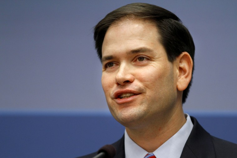 Senate Foreign Relations Committee member Sen. Marco Rubio, R-Fla. speaks about foreign policy, Wednesday, April 25, 2012, at the Brookings Institution in Washington. (AP Photo/Jacquelyn Martin)