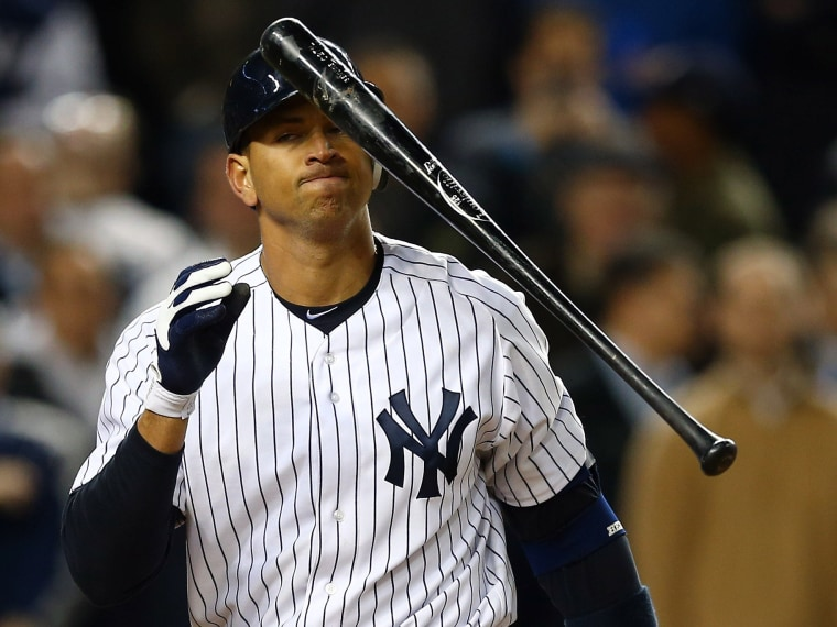 File Photo: Alex Rodriguez #13 of the New York Yankees reacts after striking out  during Game Four of the American League Division Series against the Baltimore Orioles at Yankee Stadium on October 11, 2012 in the Bronx borough of New York City.  (Photo...