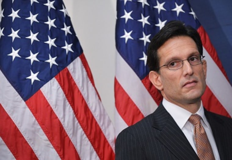 House Majority Leader Eric Cantor listens to a speaker during a press conference following a Republican Conference meeting on February 5, 2013 in Washington, DC. (Photo by Ngan Mandel/AFP/Getty Images)