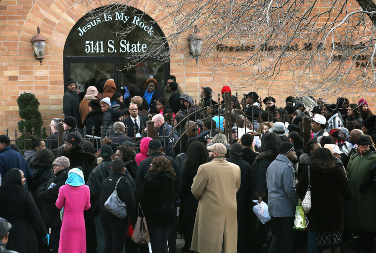 CHICAGO, IL - FEBRUARY 09:  An overflow crowd stands outside the Greater Harvest M.B. Church during the funeral of 15-year-old Hadiya Pendleton on February 9, 2013 in Chicago, Illinois. Hadiya was killed on January 29, when a gunman opened fire on her...