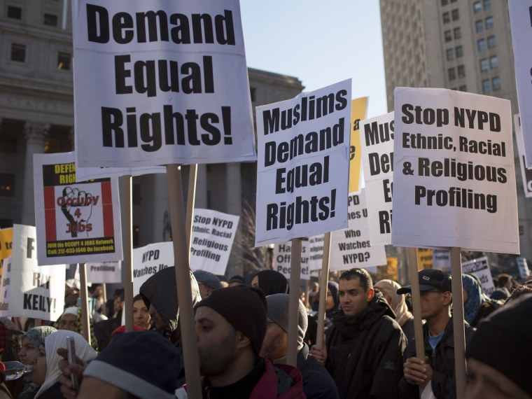 File Photo: Muslim-Americans protest the continued infiltration and monitoring of local Muslims and Muslim community organizations by the New York Police Department and the CIA November 18, 2011 in Foley Square, in the Manhattan borough of New York.  ...
