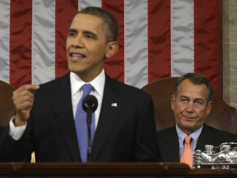 House Speaker John Boehner (R-OH) (R) listens as U.S. President Barack Obama gives his State of the Union address during a joint session of Congress at the U.S. Capitol February 12, 2013 in Washington, DC. Facing a divided Congress, Obama focused his...
