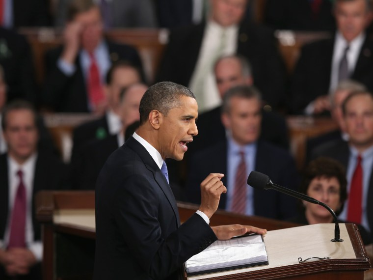 U.S. President Barack Obama delivers his State of the Union speech before a joint session of Congress at the U.S. Capitol February 12, 2013 in Washington, DC. Facing a divided Congress, Obama focused his speech on new initiatives designed to stimulate...