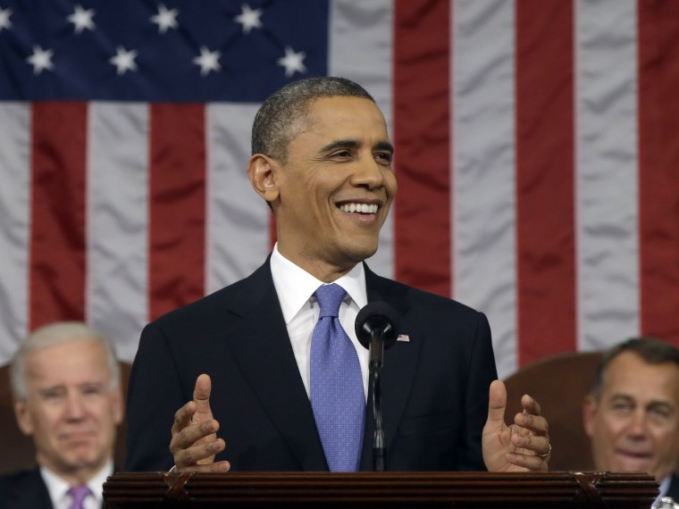 U.S. President Barack Obama, flanked by Vice President Joe Biden and House Speaker John Boehner (R-OH), delivers his State of the Union speech before a joint session of Congress at the U.S. Capitol February 12, 2013 in Washington, DC. Facing a divided...