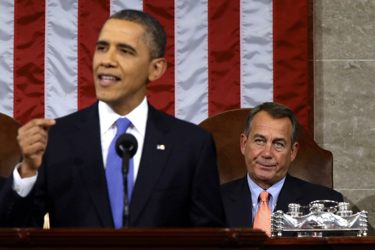 "House Speaker John Boehner, who has previously forsworn the word ""compromise,"" appeared nonplussed at most of the proposals President Obama offered in Tuesday night's State of the Union address. (AP Pool)"