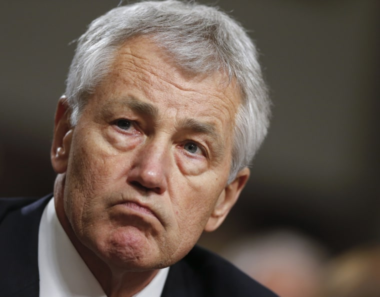 """Former Nebraska Sen. Chuck Hagel testifies on Capitol Hill in Washington before the Senate Armed Services Committee's confirmation hearing. He was rumored to have given a paid speech to a fake organization called \""""Friends of Hamas.\"""" (AP Photo/J. Scott..."""