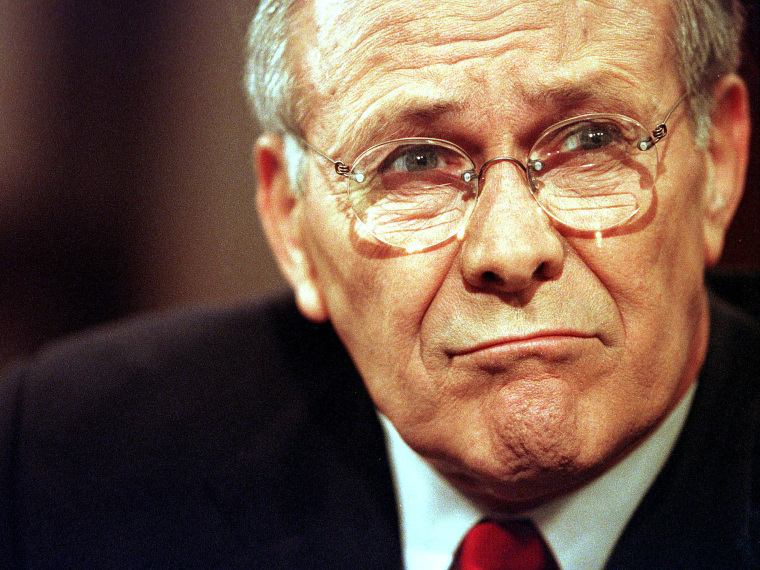 """File Photo: Defense Secretary Donald Rumsfeld frowns before his appearance on the CBS talk show """"Face the Nation"""" June 23, 2001 in Washington, D.C. (Photo by Karin Cooper/Getty Images, File)"""