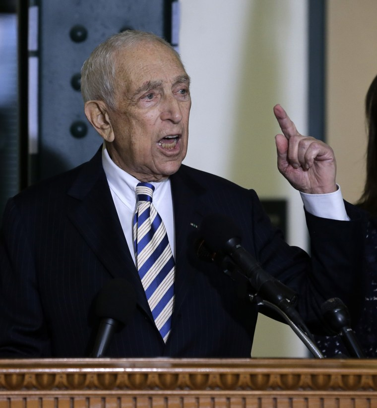 Sen. Frank Lautenberg, the oldest member of the U.S. Senate, tells a gathering Friday, Feb. 15, 2013, in his hometown of Paterson, N.J., that he plans to retire at the end of his current term. The 89-year-old says he'll fight for gun control, against...
