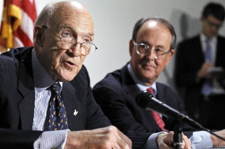 File photo: President Barack Obama's Debt Commission co-chairmen, Erskine Bowles right, and former Wyoming Sen. Alan Simpson,  take part in a news conference on Capitol Hill in Washington Tuesday, Nov. 30, 2010. (AP Photo/Alex Brandon)