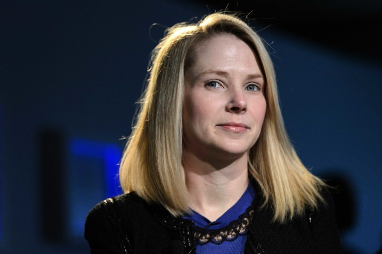 Marissa Mayer, Chief Executive Officer of Yahoo!, speaks during one to one session during the 43rd Annual Meeting of the World Economic Forum, WEF, in Davos, Switzerland, Friday, Jan. 25, 2013.  (Photo by Laurent Gillieron/Keystone/AP)
