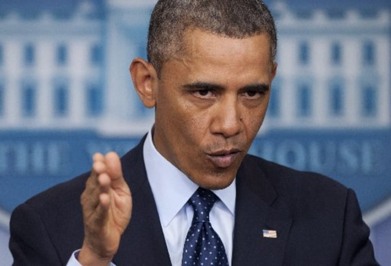 US President Barack Obama speaks to the media about sequestration in the Brady Press Briefing Room at the White House in Washington on March 1, 2013 following a meeting with US Speaker of the House John Boehner and Congressional leaders. Obama summoned...