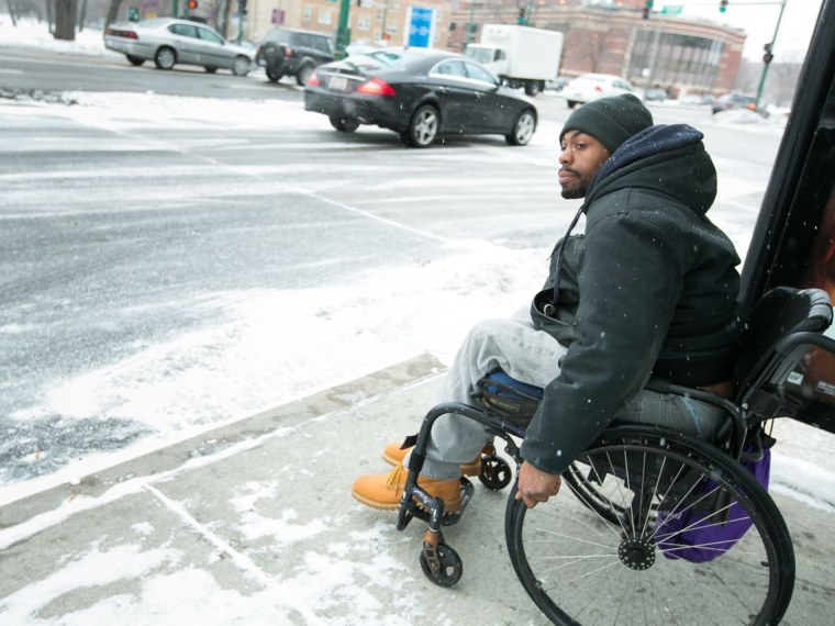 Demetrius Harris waits for the bus in Chicago Friday, March 1, 2013. (Photo by Peter Wynn Thompson for msnbc)