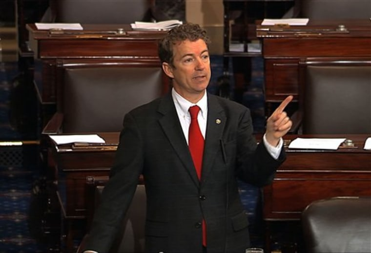 Sen. Rand Paul did what Jeb Bush and Marco Rubio couldn't: Look larger than their party.  (AP Photo/Senate Television)
