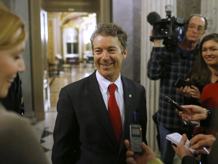 Sen. Rand Paul, R-Ky., leaves the floor of the Senate after his filibuster of the nomination of John Brennan to be CIA director on Capitol Hill in Washington, early Thursday, March 7, 2013. Senate Democrats pushed Wednesday for speedy confirmation of...