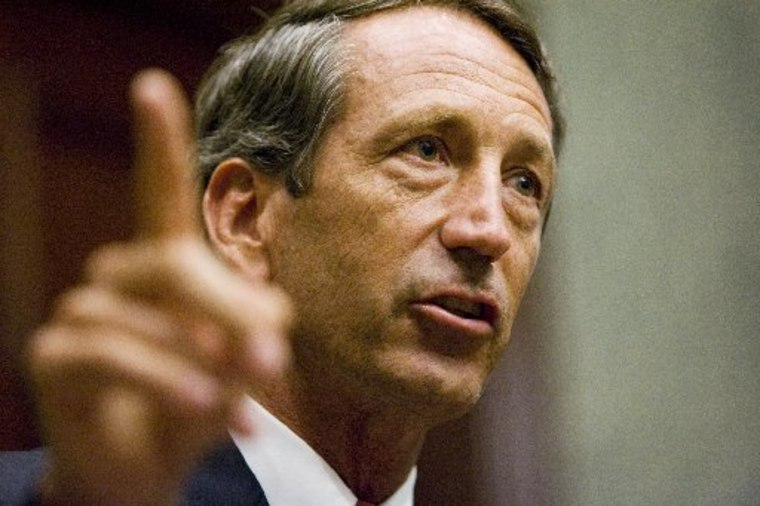 Gov. Mark Sanford talks about the actions of the Ethics Commission during a news conference Sept. 10, 2009, at the Statehouse in Columbia, S.C.  (AP Photo/Mary Ann Chastain)