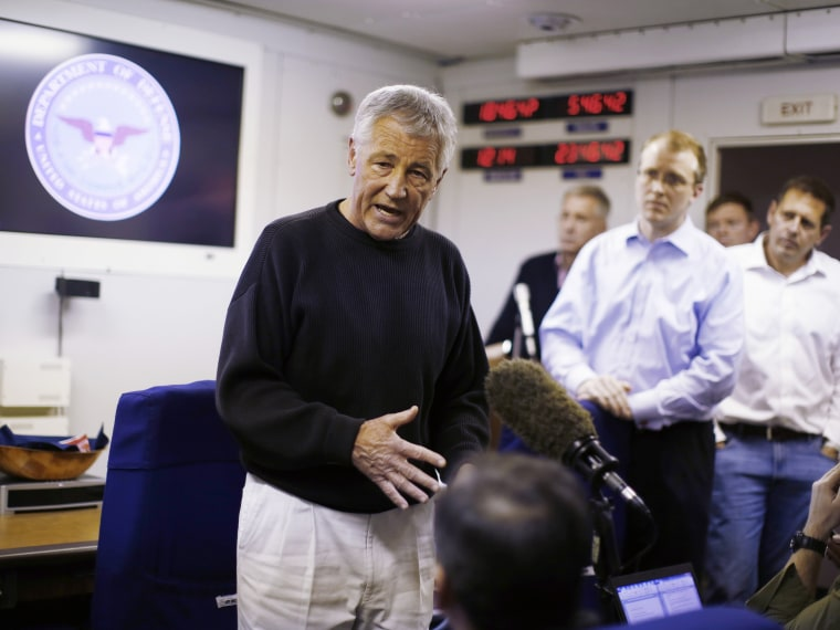 Hagel spoke to the traveling press aboard his military aircraft between Andrews Air Force Base and Manas Air Force Base, Kyrgyzstan, en route to Afghanistan. (Photo by Jason Reed-Pool/Getty Images)